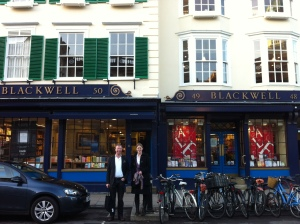 Tommi and Ellie outside Blackwell's bookshop