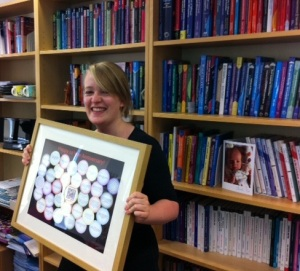 Anna celebrating 10 years working at Multilingual Matters