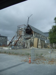 The damaged cathedral in the centre of Christchurch's 'red zone'