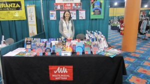 Laura at the Multilingual Matters NABE stand