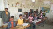 Schoolchildren in their classroom