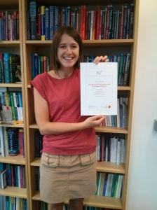 Laura with our BIC Award certificate