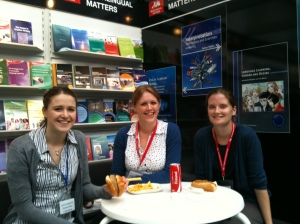 Laura, Elinor and Sarah having lunch at the Frankfurt Book Fair
