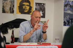Jan Blommaert talking to grassroots urban activists in Antwerp, spring 2013