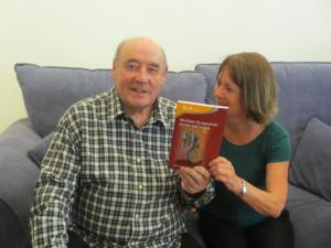Marion Williams presenting copies of the book to Desmond Morris; we are honoured that he offered to let us use his image on the cover. The picture is entitled 'The Imaginer', which is the theme of one of the chapters.