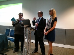 All three editors speaking at the launch