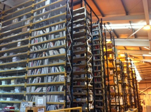 The giant shelves in the warehouse