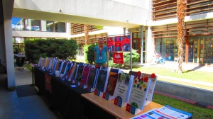 Laura with the outdoor book display