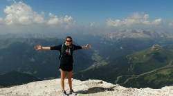 Laura hiking in the Dolomites