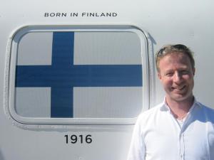 Tommi celebrating his Finnish nationality