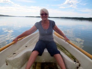 Marjukka rowing on Enäjärvi