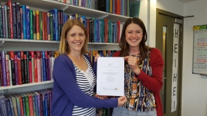 Elinor and Laura celebrating our achievement