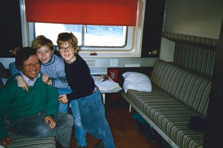 Tommi with his brother Sami and their dad, Mike, on the Finnjet